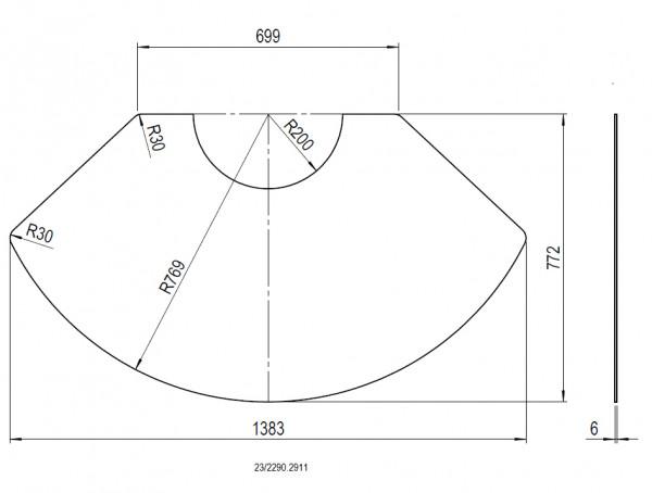 Glas-Vorlegeplatte für Olsberg Kaminofen TIPAS Compact