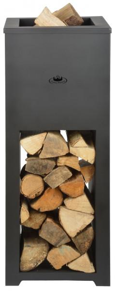Feuerschale Stahl mit Holzlager, schwarz