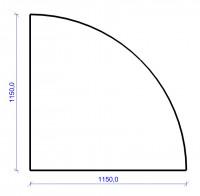 Kamin Bodenplatte, 6 mm ESG-Klarglas, Viertelkreis 1150 x 1150 mm - SM30-350