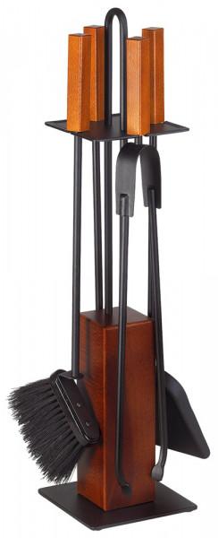 Kaminbesteck KUBO-2 aus Holz, Geräte Stahl anthrazit, 4- teilig