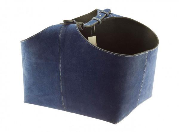 Holzkorb Wildleder, blau
