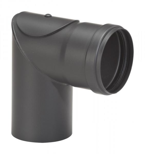 Pellet-Ofenrohrbogen Stahl 90° schwarz, mit Tür auf Muffenseite
