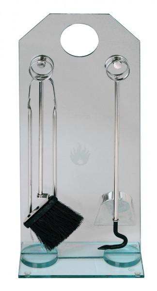 Kaminbesteck Lienbacher Stahl, 4- teilig mit Glasständer, 68 x 29 x 16 cm