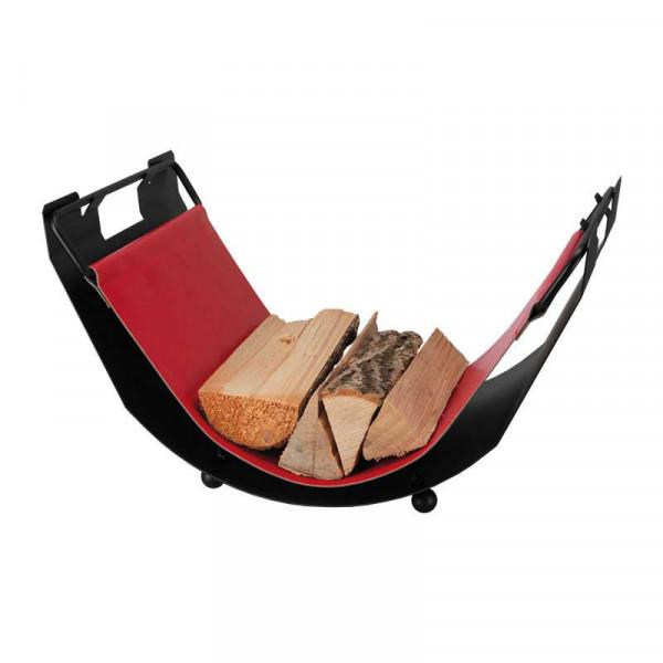 Holzliege TWIST aus Eisen, mit rotem Leder