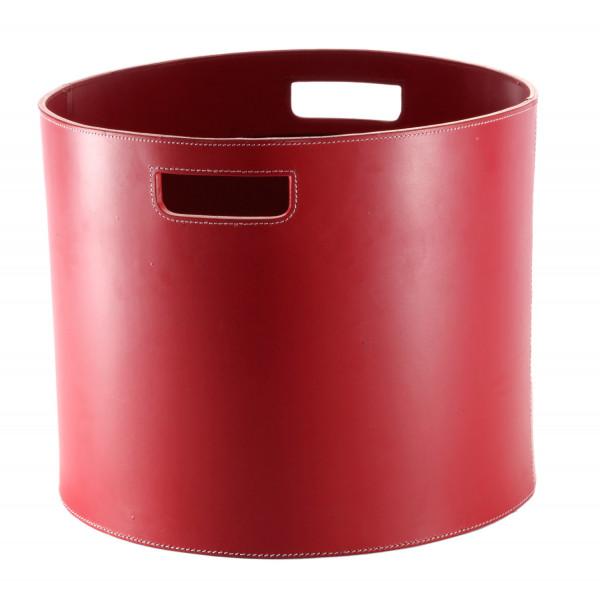 Holzkorb Leder rund Ø 35 cm, rot
