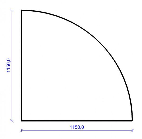 Kamin Bodenplatte, 6 mm ESG-Klarglas, Viertelkreis 1150 x 1150 mm