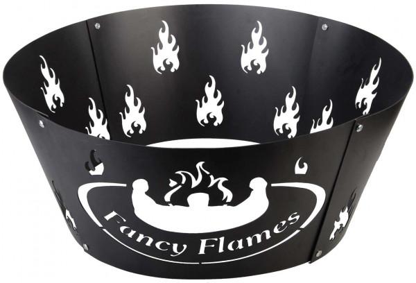 Feuerkorb mit Muster, Stahlblech, schwarz