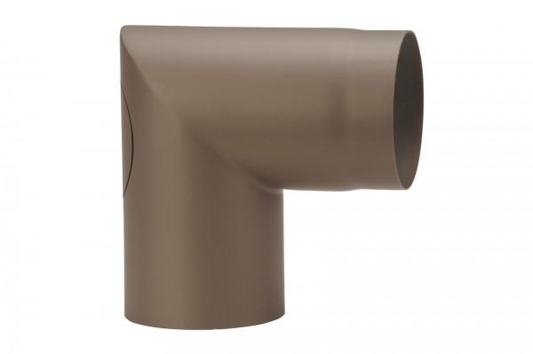 Rauchrohrbogen Stahl 90° Ø 150 mm braun mit Tür, kurz