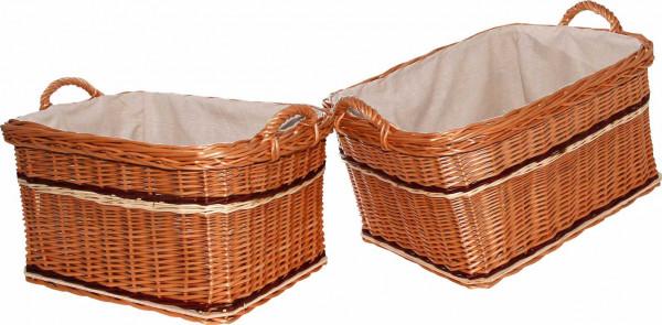 Holzkorb, gesottene Weide, 2-teilig, inkl. Futter