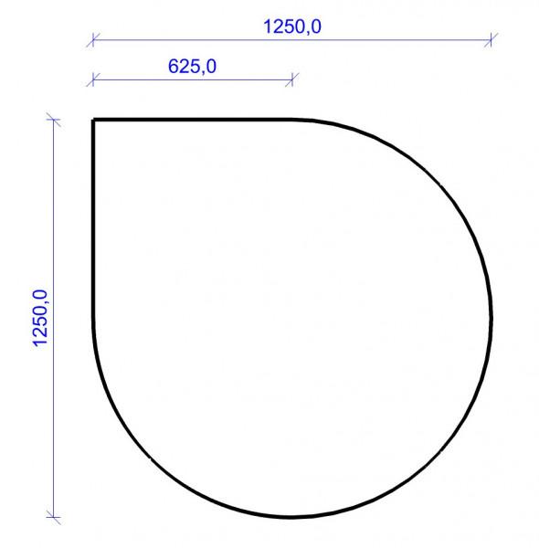 Kamin Bodenplatte, 2 mm Stahl, Tropfenform 1250 x 1250 mm, hellgrau