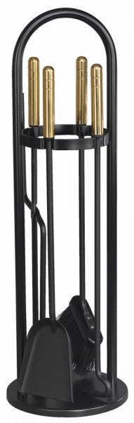 Kaminbesteck TANGO-5 aus Stahl, 4- teilig, schwarz