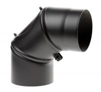 Rauchrohrbogen Stahl verstellbar 0-90° schwarz mit Tür - SM12-260