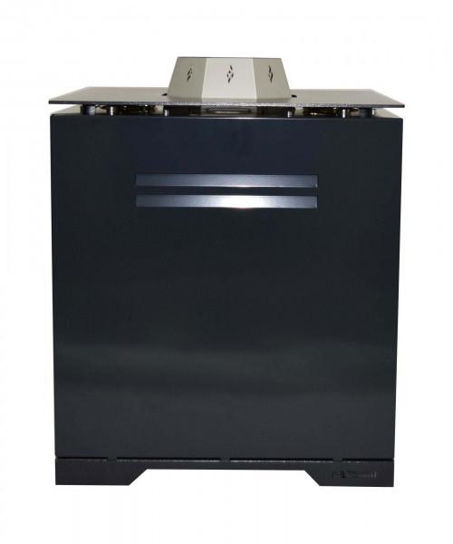 Pellet-Feuertisch Pelmondo CUBE Design mit Compact Brenner, schwarz