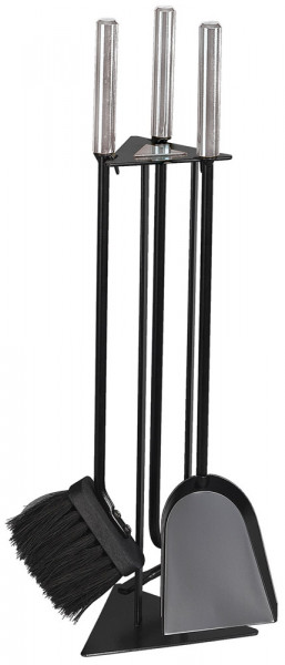 Kaminbesteck TRIGO-3 aus Stahl, 3- teilig, schwarz