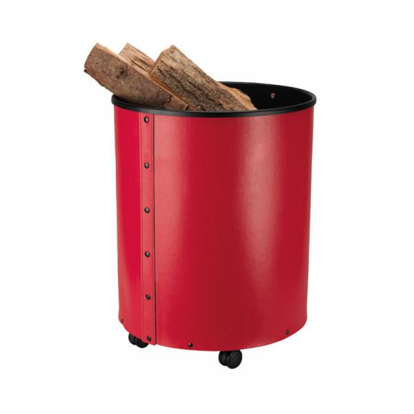 Holzbehälter mit Rollen, regeneriertes Leder, rot