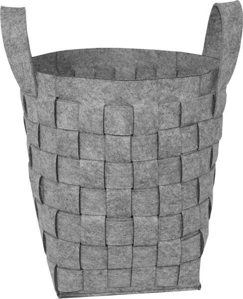 Holzkorb aus grauem Filz, Flechtoptik, 47 x 31 x 31 cm