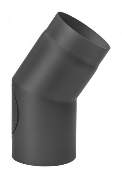 Rauchrohrbogen 22° Ø 150 mm schwarz mit Tür