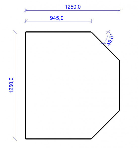 Kamin Bodenplatte, 2 mm Stahl, Sechseck 1250 x 1250 mm, schwarz