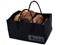 Holzkorb aus Filz, dunkelgrau 27 x 50 x 34 cm - SM10-81906CF13