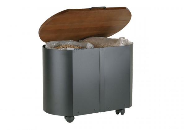 Pelletbox 40 kg oval Lienbacher, schwarz