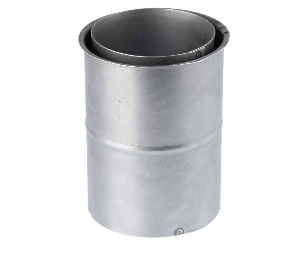Doppelwandfutter120 mm lang Stahl Wandfutter für PelletofenAnschluss Doppelwandfutter aus Stahlfür wählbaren Querschnitt 80 mm oder 100 mmzum Anschluss von Pelletofenrohren an Schornsteinzüge. gefertigt gemäß DIN EN 18562 Wandstärke 1,2 mm wählbar