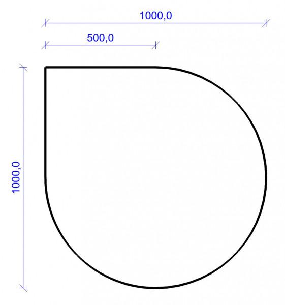 Kamin Bodenplatte, 2 mm Stahl, Tropfenform 1000 x 1000 mm, hellgrau