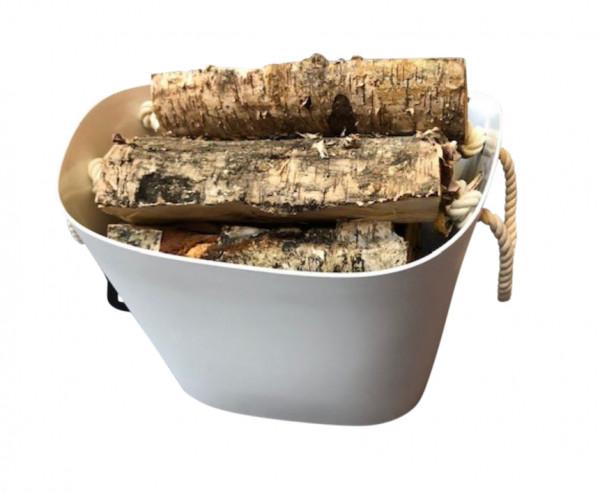 Holzkorb Kunststoff oval mit Seilgriffen, weiß