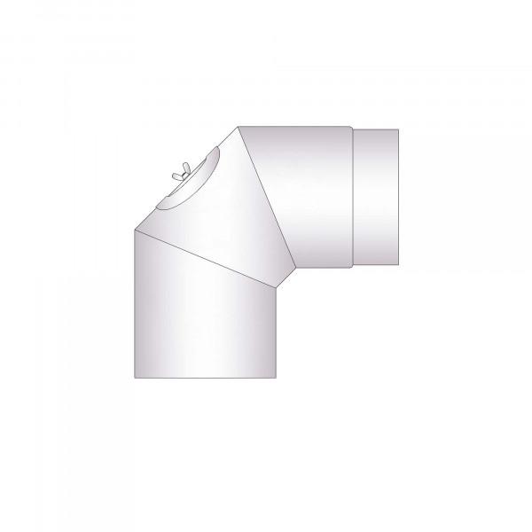 Rauchrohrbogen Stahl 2x 45° unlackiert mit Tür