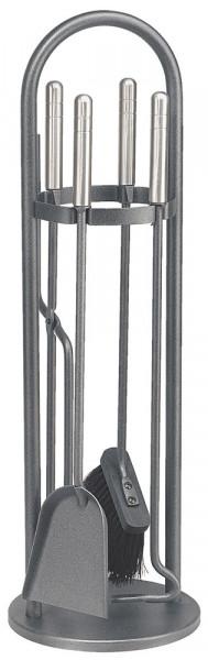 Kaminbesteck TANGO-1 aus Stahl, 4- teilig, anthrazit