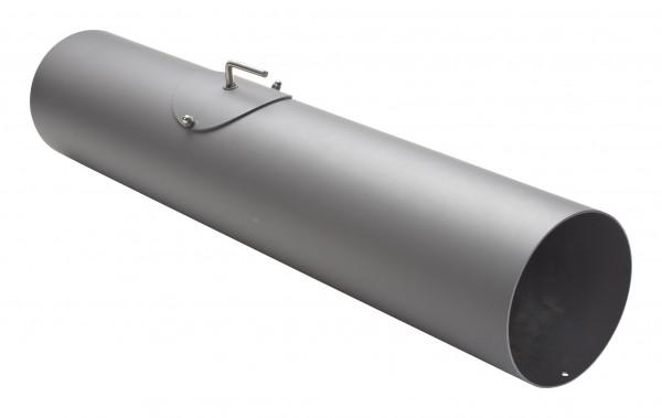 Rauchrohr Stahl 750 mm hellgrau mit Tür, Drosselklappe, Kondensring