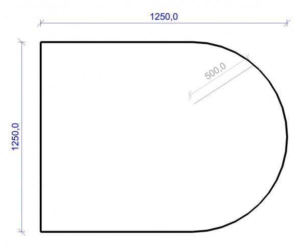 Kamin Bodenplatte, 2 mm Stahl, Rundbogen 1250 x 1250 mm, schwarz