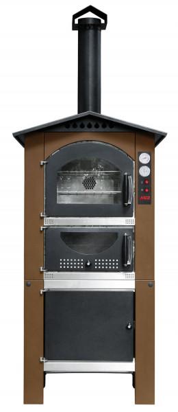 Holzbackofen MCZ Arcos 60 für außen mit Ofenwagen und Dach