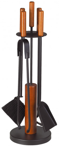 Kaminbesteck CYLIA-2 aus Holz, Geräte Stahl schwarz, 4- teilig