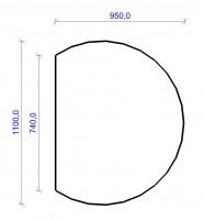 Kamin Bodenplatte, 6 mm ESG-Klarglas, Kreisabschnitt 950 x 1100 mm - SM30-400