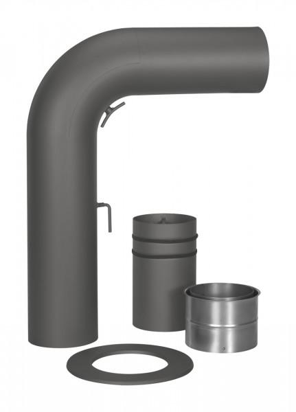 Schiebe-Rauchrohr Set Stahl 90° 700 x 532 mm Ø 150 mm schwarz, gezogen
