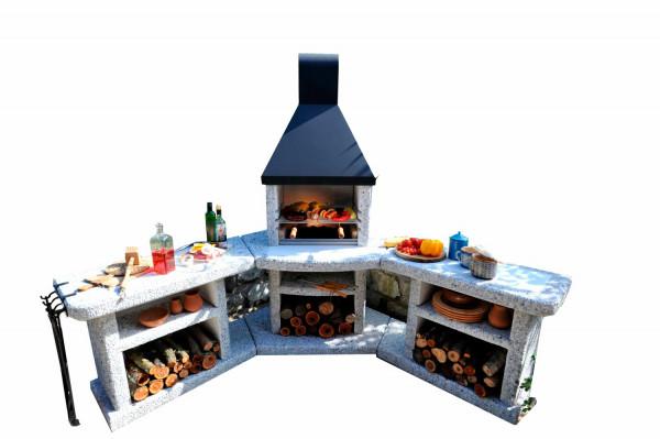 Outdoorküche mit Grillkamin Wellfire TOSKANA Quatro 4 in 1 mit Stahlhaube