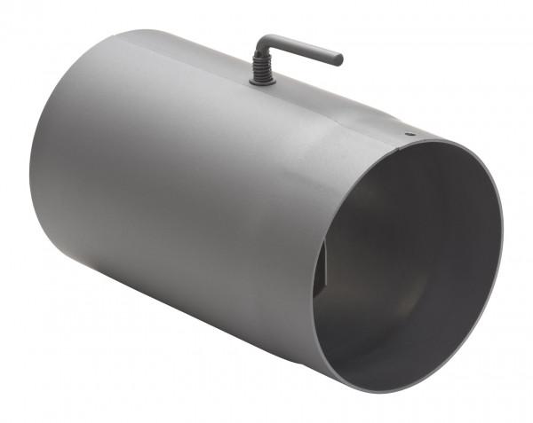 Rauchrohr Stahl 250 mm hellgrau mit Drosselklappe