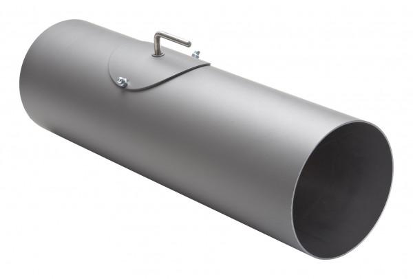 Rauchrohr Stahl 500 mm Ø 150 mm hellgrau mit Tür, Drosselklappe, Kondensring