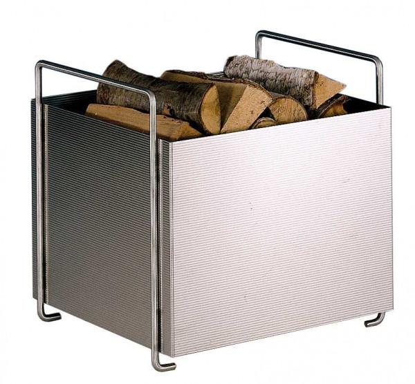 Holzkorb Heibi aus Edelstahl- Feinwellblech mit Tragegriffen