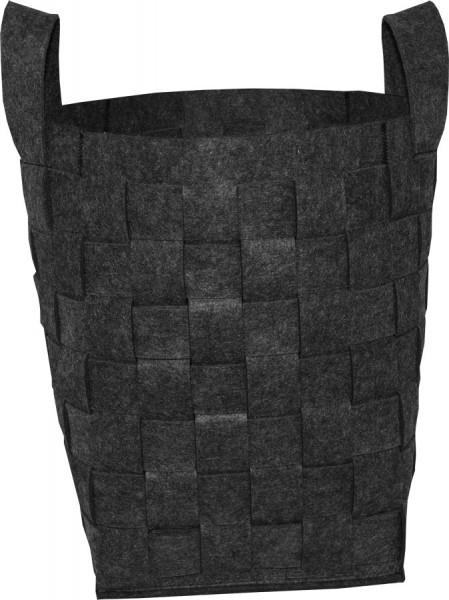 Holzkorb Filz, Flechtoptik, 55 x 37 x 37 cm, anthrazit