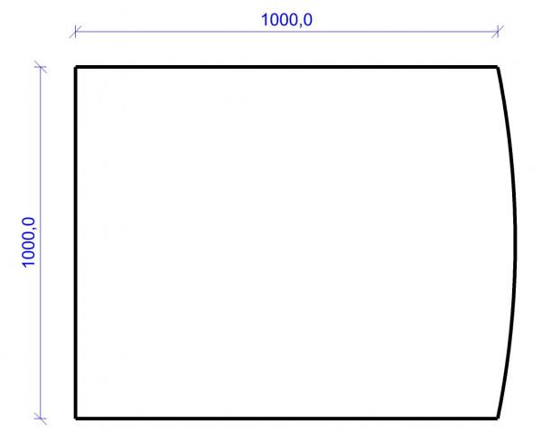 Kamin Bodenplatte, 6 mm ESG-Klarglas, Segmentbogen 1000 x 1000 mm