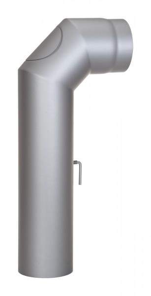 Anschlussrohr Stahl 2x 45° 700 x 300 mm hellgrau mit Tür, Drosselklappe