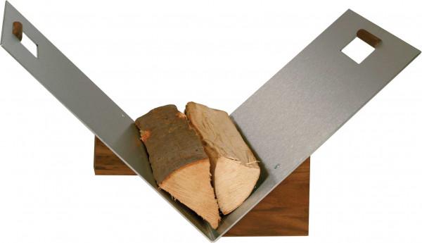 Holzkorb Lienbacher aus Edelstahl mit Nussholzsockel