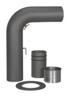 Schiebe-Rauchrohr Set Stahl 90° 700 x 532 mm Ø 150 mm schwarz, gezogen - SM15-434