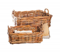 Holzkorb aus Naturrohr, 2-teilig, 75 x 55 x 28 cm - SM2044-20-0