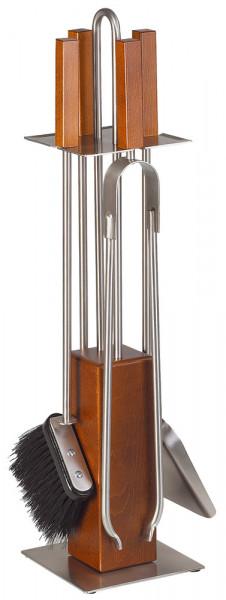 Kaminbesteck KUBO-1 aus Holz, Edelstahlgeräte, 4- teilig