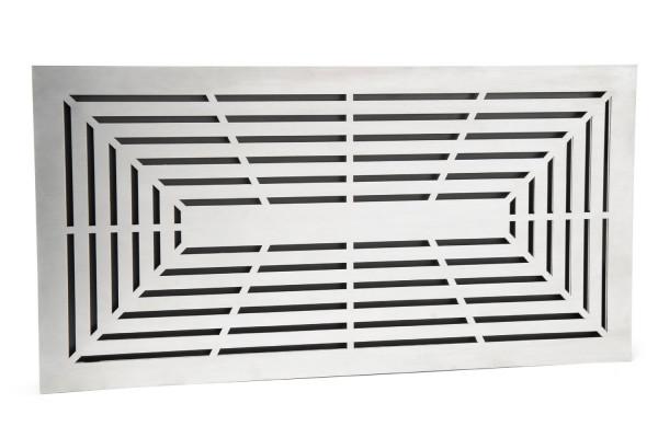 Design Lüftungsgitter 45 x 23 cm mit Einbaurahmen Edelstahl matt - schwarz