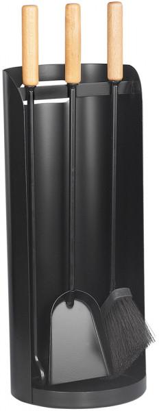 Kaminbesteck ROLLO-4 aus Stahl, 3- teilig, schwarz