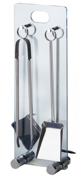 Kaminbesteck Lienbacher aus Stahl, 4- teilig mit Glasständer, 67,5 x 25 x 14 cm