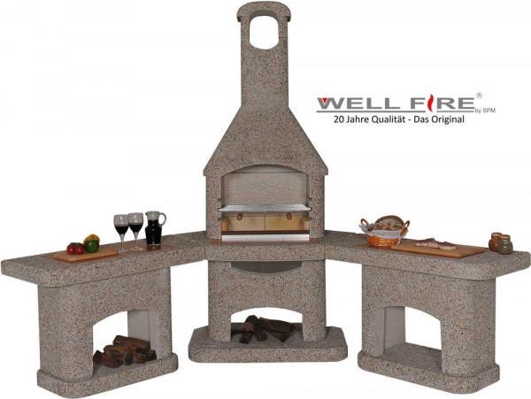 Outdoorküche mit Grillkamin Wellfire NOVA quattro braun